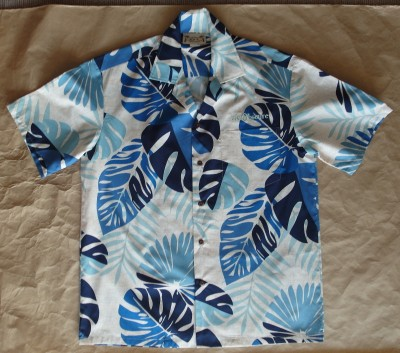 tiki obscure aloha shirt resort blue front